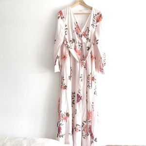 Light pink silky lined long sleeve maxi dress sm